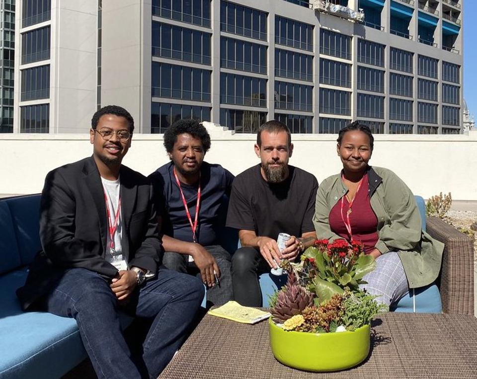 Twitter CEO Jack Dorsey (beard, second from right), with (from left) Noel Kudu, Getnet Aseffa and Betelhem Dessie.