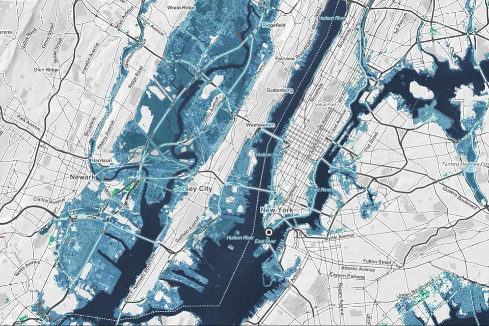 New York flooded areas in blue