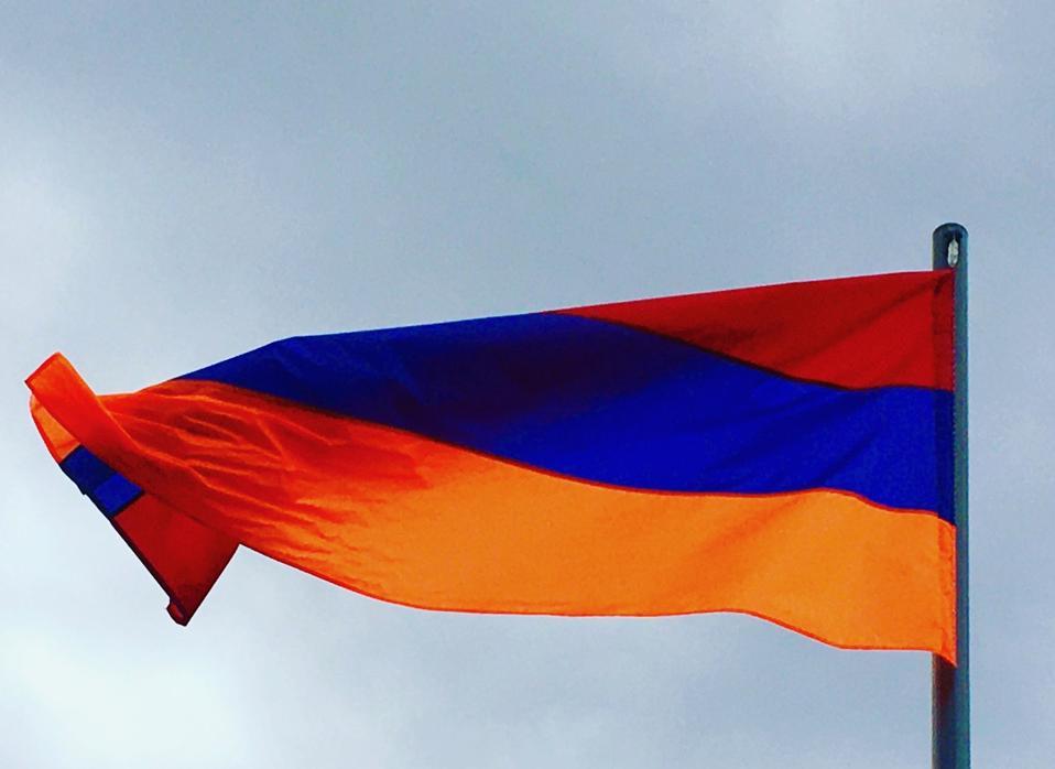 Armenian flag flutters outside Old Bridge Wine Cellar