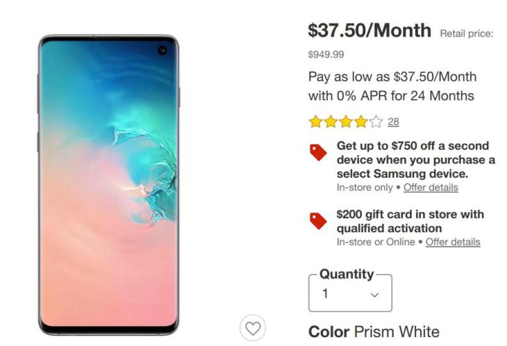 Walmart Samsung Galaxy S10 Black Friday sales
