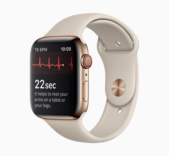 Taking an ECG measurement on Apple Watch Series 4 - a useful health monitoring feature.