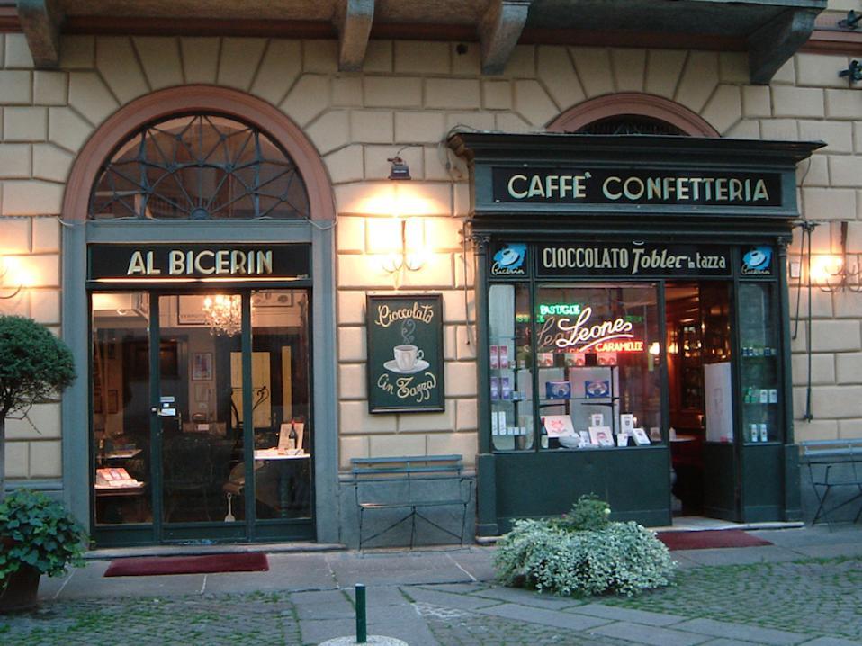 The exterior of the caffè and shop in the Piazza della Consolata.