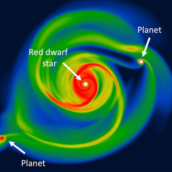 Computer simulation showing how large planets form.