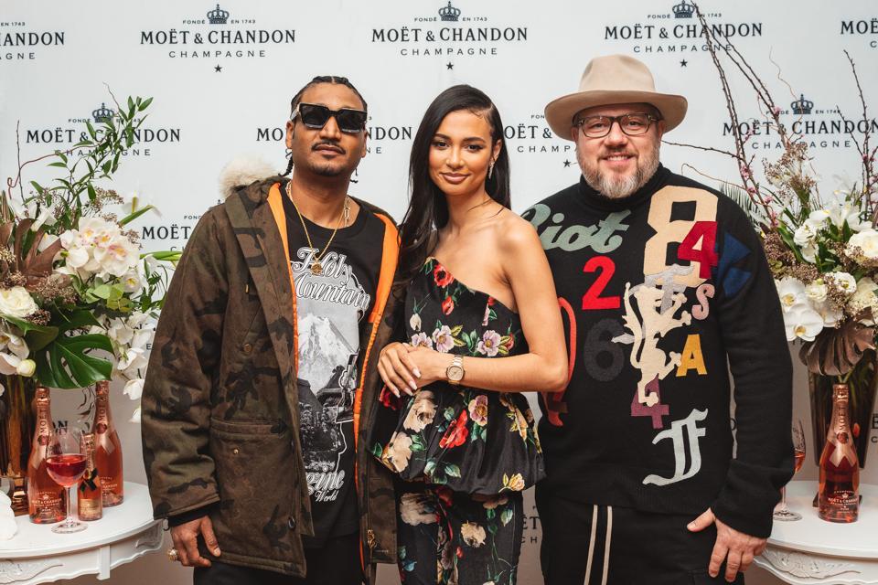 Fashion designer Don C, KNC Beauty owner Kristen Noel Crawley and photographer Jonathan Mannion.