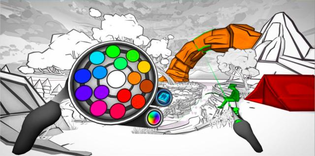 In 'Color Space,' users pick colors to apply in 13 different VR scenes
