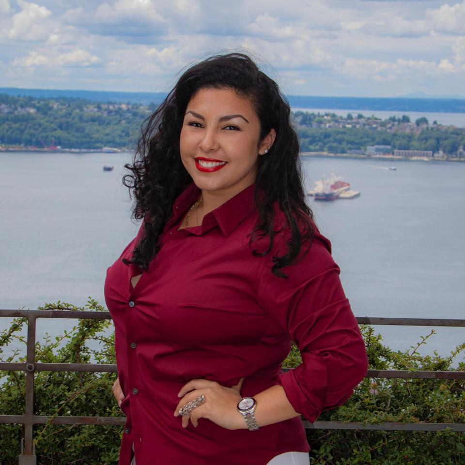 Fabiola Jimenez standing in front of a big water...