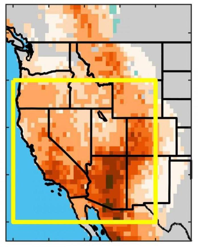 Drought conditions since 2000 in the western United States.