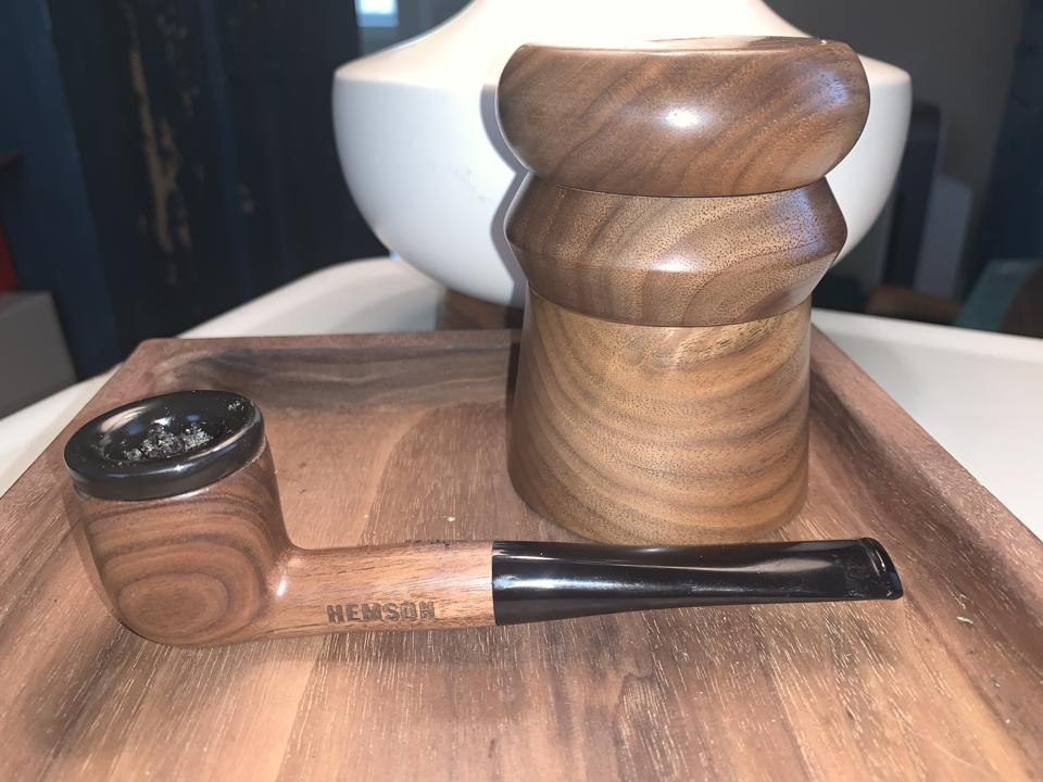 my wood cannabis trays made of walnut and hand turned pipe/grinder