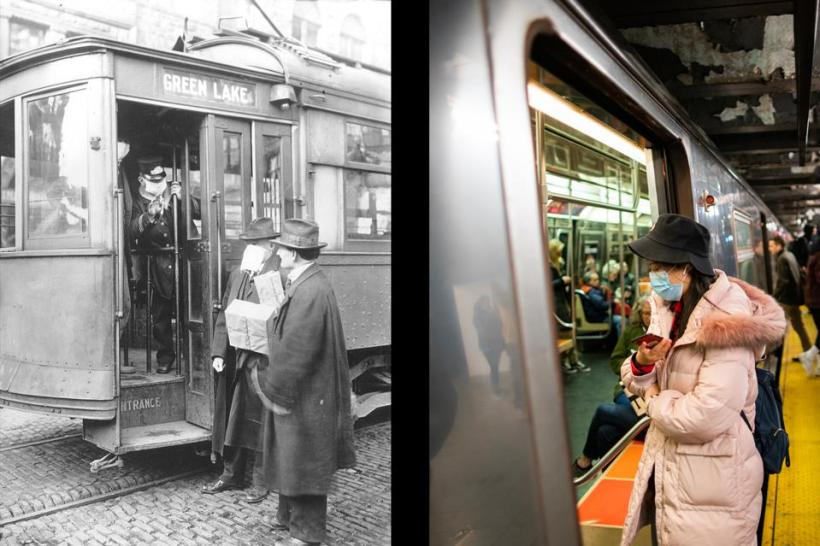 On Track: Whether boarding a streetcar in Seattle or a Manhattan subway, a face mask was—and is—a requirement.