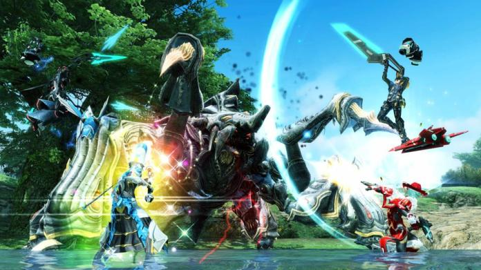 Typical battles in Phantasy Star Online 2 are often just as flashy as this.