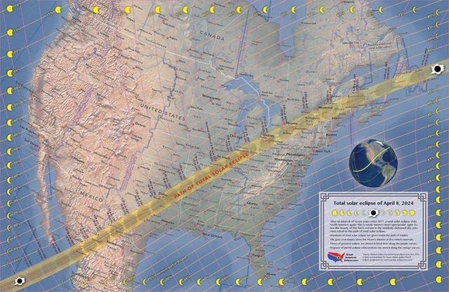 The path of the entire total solar eclipse of April 20, 2024.