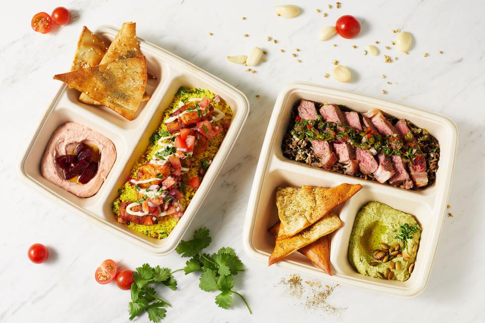 Salads and hot dishes from Box'd, Toronto's new automated restaurant.