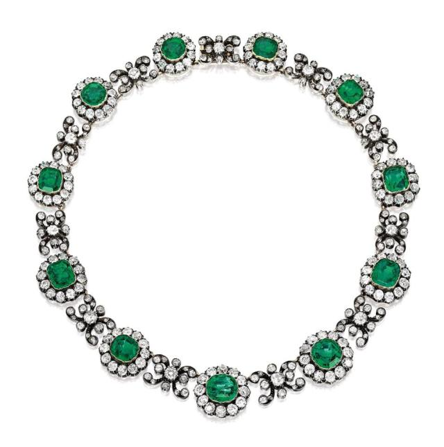 The Duchess of Manchester's emerald and diamond necklace sold for $489,495