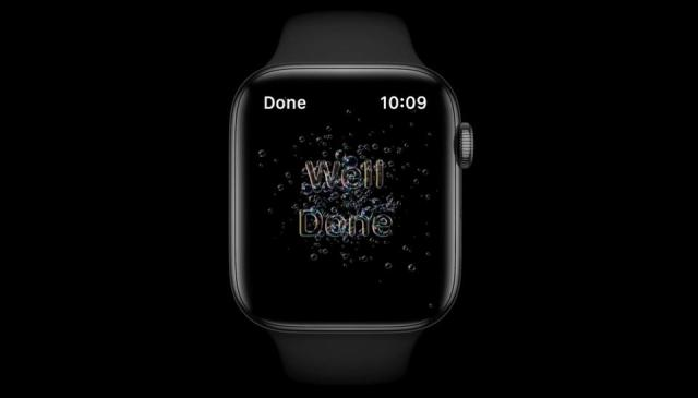 When you finished washing your hands with Apple Watch