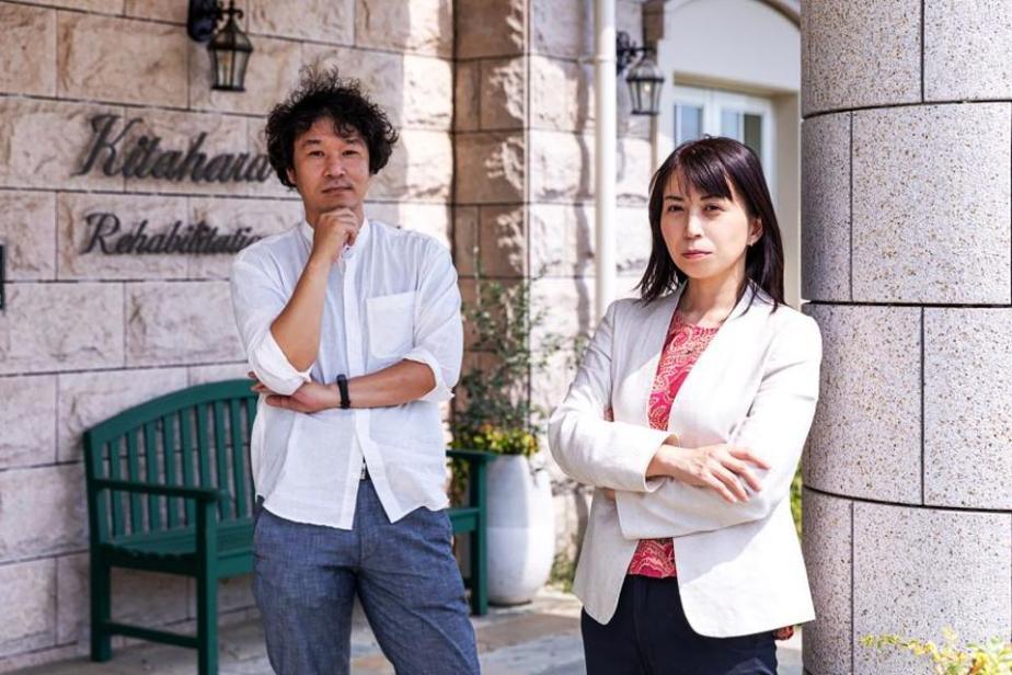 Kameda Yoshikazu, left, and Hamasaki Chika of the Kitahara group