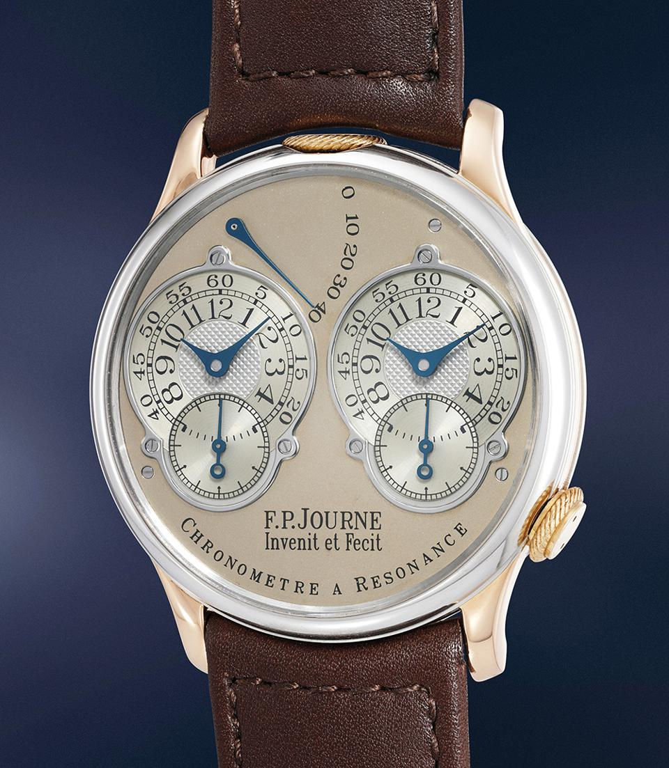 The F.P. Journe Chronometre à Resonance, a unique pink gold model, sold for $1,096,516 at a Phillips auction.
