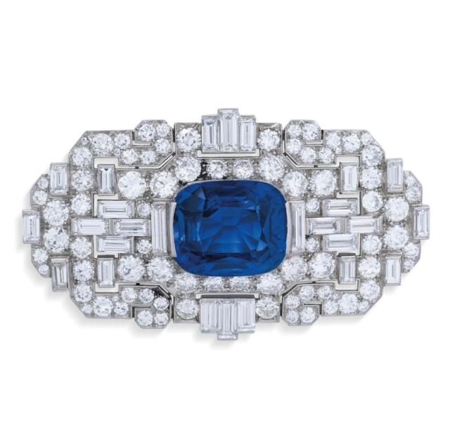 Art Deco sapphire and diamond brooch by Bulgari with an estimate of $265,228 - $371,319