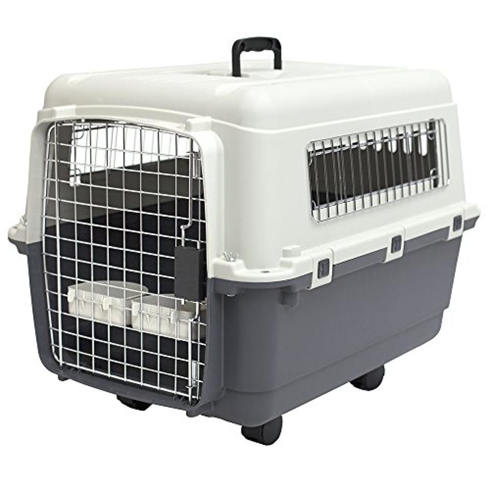 SportPet Designs Rolling Plastic Wire Door Travel Dog Crate