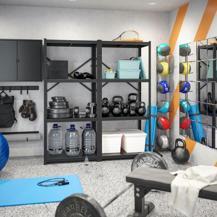 A well-organized garage can host a well-equipped workout space.