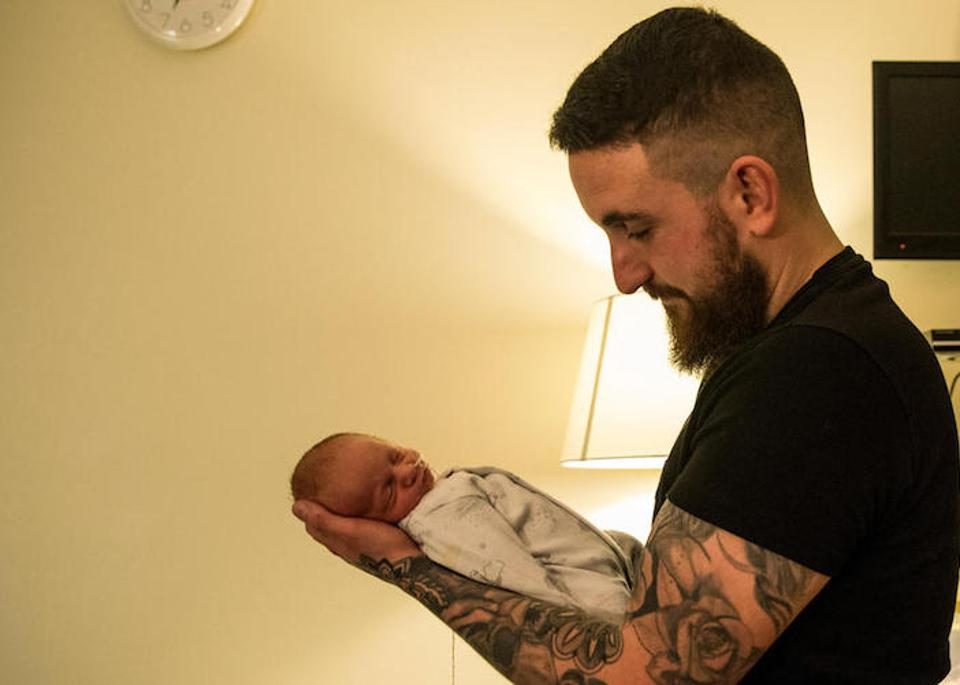 Alex Edmonds Brown holds his son Harley James, born premature, in a private room in the maternity ward of the Royal Devon and Exeter Hospital, in Exeter, Devon, England on February 28, 2018.