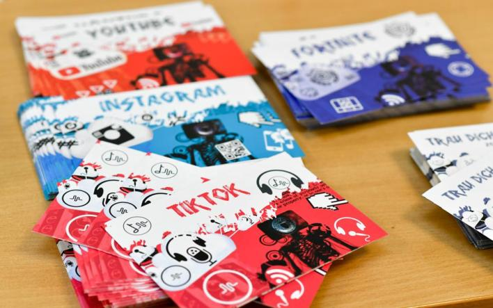 Business card-style security and privacy guides given away on Safer Internet Day to Instagram, TikTok and YouTube users