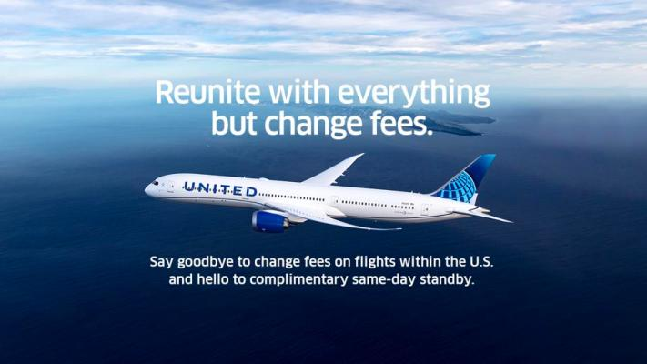 United's removal of change fees is said to have come from being a top customer request.