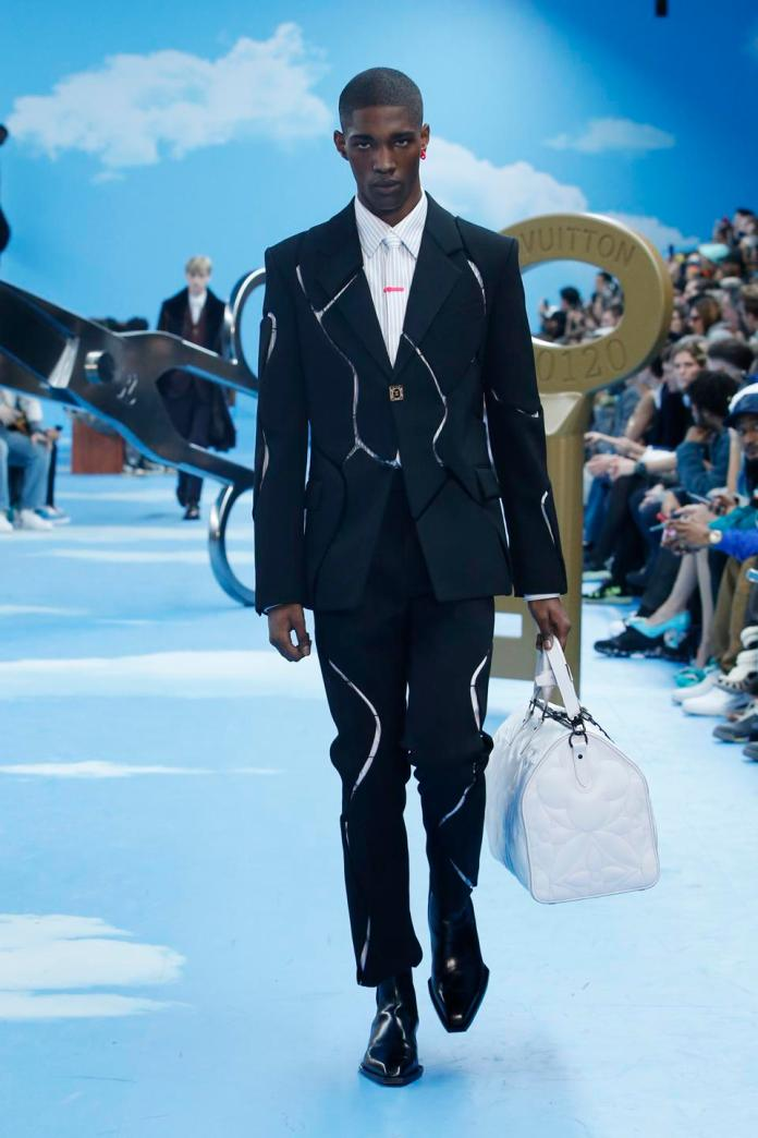 Louis Vuitton:  MTO Sculptural Jacket; Slim Fit Shirt, MTO Sculptural Pant; LV Chelsea Boot