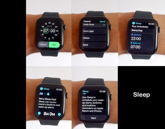 Photos of the WatchOS 7 Sleep app.