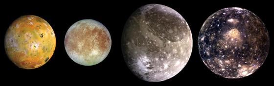 This composite includes the four largest moons of Jupiter known as the Galilean satellites.  It is shown from left to right in the order of increasing distance from Jupiter, Io is the closest, followed by Europa, Ganymede and Callisto.  Galileo.