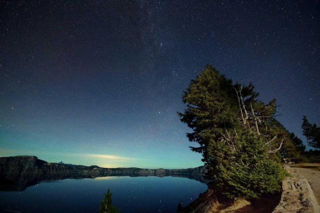 Stars reflected in Crater Lake National Park