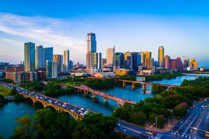 Aerial Drone view above Austin Texas USA Afternoon Sunset Lady Bird Lake 2019 on July 4th
