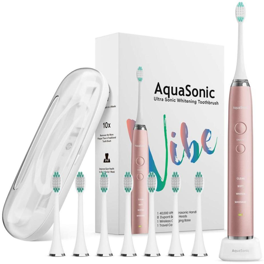 AquaSonic VIBE Series Ultra Whitening Pink Electric Toothbrush