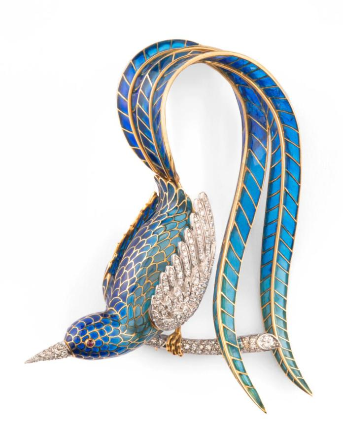 Enamel, gold and diamonds to create this magnificent piece.