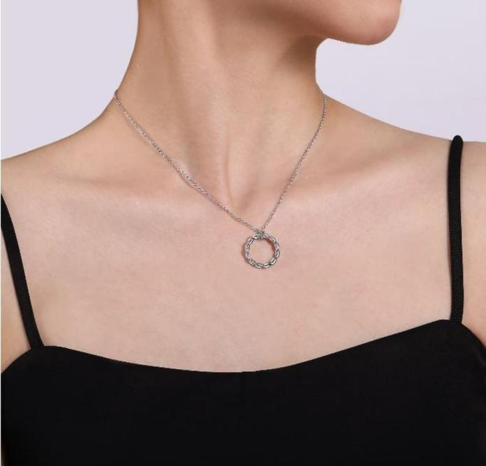 A strong necklace with a powerful cause. 925 silver twisted rope in circle form.