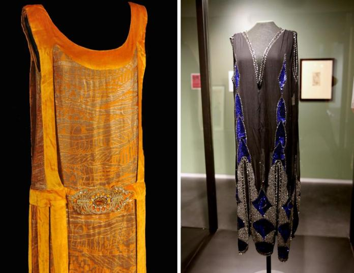 The newly erected Silk and Steel: French Fashion, Women and WWI exhibit