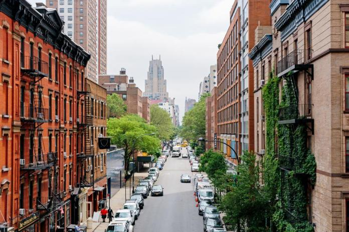Elevated view of street in Chelsea district, New York City, USA