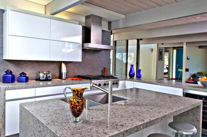 Kitchen with quartz countertops.