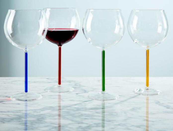 wine glasses with different colored stems