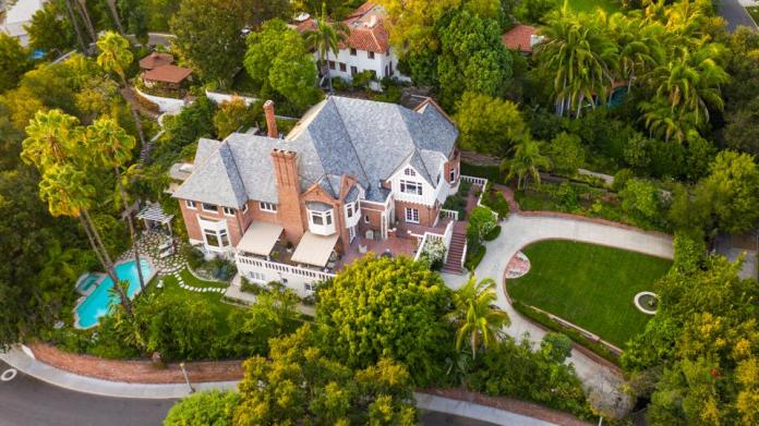 An aerial view of a home in Los Angeles.