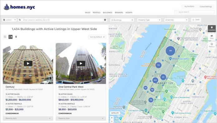 The screenshot shows buildings in the Homes.nyc directory. The site has information on 9,338 buildings in Manhattan.