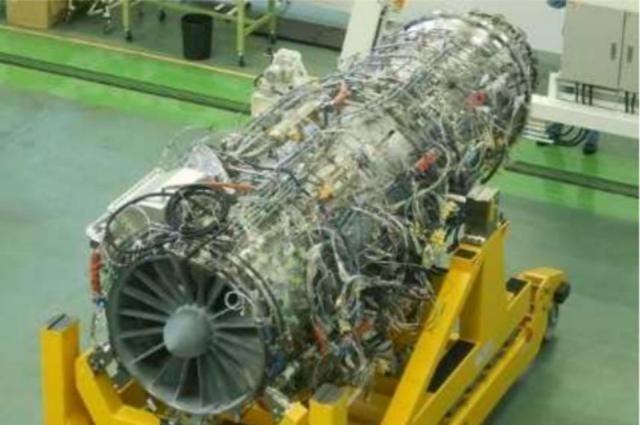 IHI Corporation X9F-1 low-bypass turbofan engine in 2019 undergoing testing.