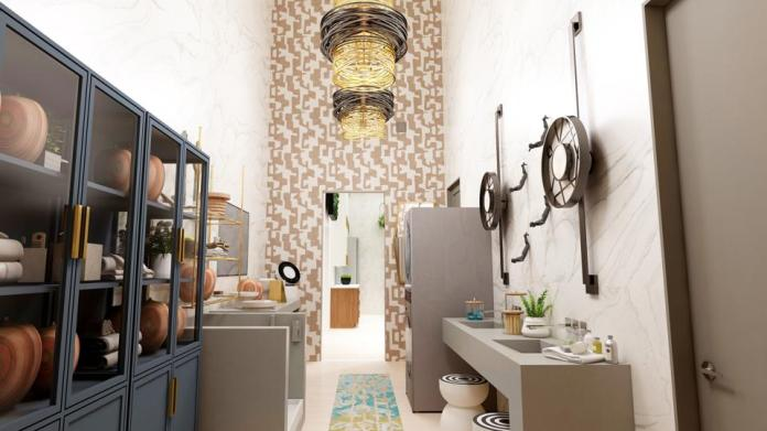Laundry room with shower station.