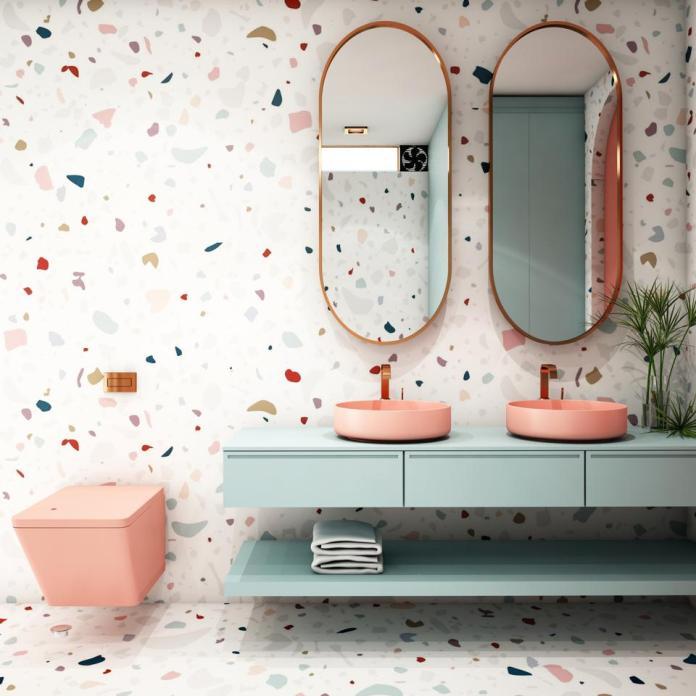 Modern Bathroom Interior design,trend design 2019 ,3d rendering ,3d illustration