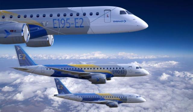 Embraer E195, E190 and E175 E2a jet in flight.