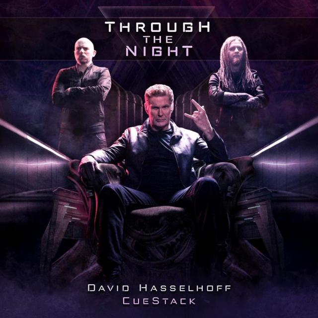 Actor and singer David Hasselhoff (center) teams with Austrian rock duo CueStack on the new single ″Through the Night,″ now available on streaming platforms and via the official CueStack with limited edition and signed merch.