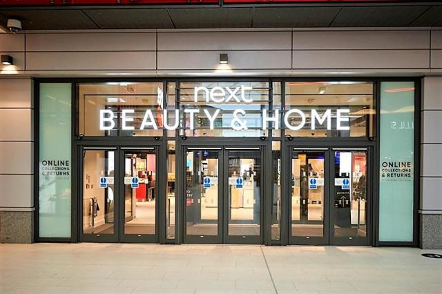Next Beauty & Home store front in Watford, England.