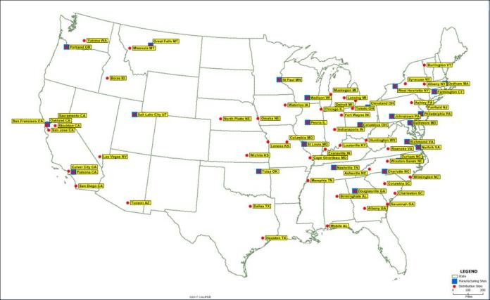 Map of Red Cross United States distribution network for blood products.
