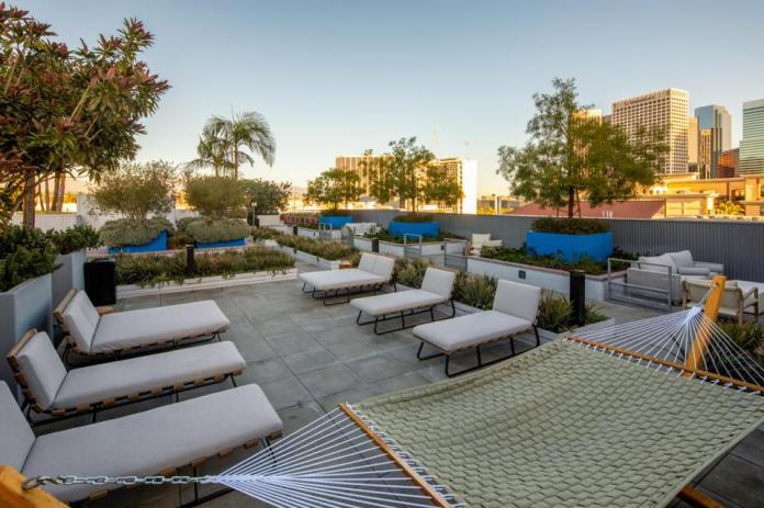 Rooftop relaxation area at Be DTLA, Los Angeles.