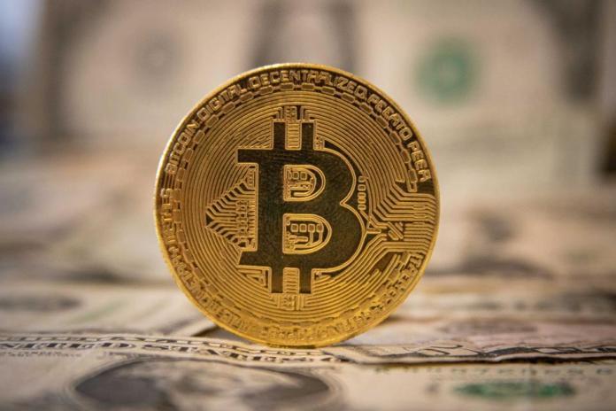 Bitcoin Illustration On United States Dollar USD Banknotes