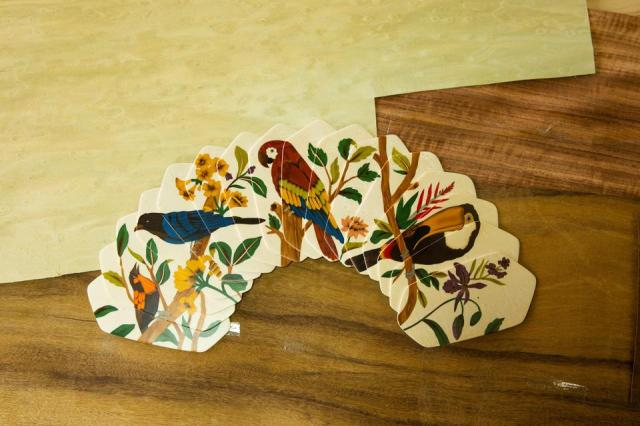Wood marquetry fan realized by artisans in Acre, Brazil